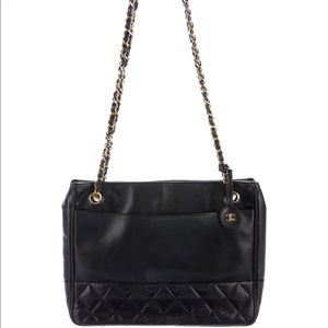 Chanel Vintage Lambskin Black Quilted Shoulder Bag